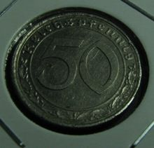 50 Rpf 1939A, KM#95, Nickel