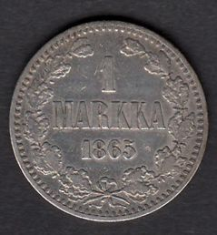 1 Markka 1865 ( VF ) Slightly cleaned
