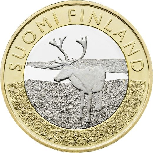 Finland 5 euro 2015 Animals of the Provinces Lapland - reindeer ( UNC )