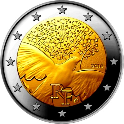 France 2 euro 2015 / 70 years of peace in europe ( UNC )