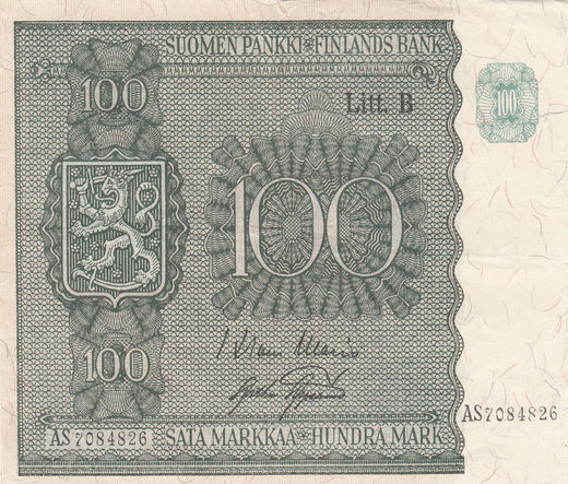 100 Markkaa 1945 Litt-B AS7084826 ( VF ) WAR - AAS