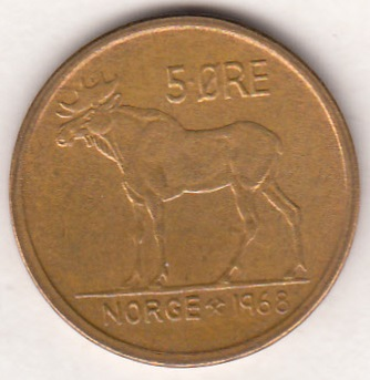 Norway 5 öre 1968 KM-405 ( UNC )