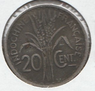 French Indo China 20 centimes 1941S KM-23a.2 ( F )