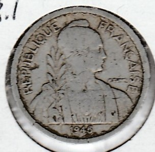 French Indo China 10 centimes 1945a KM-28.1 ( F )