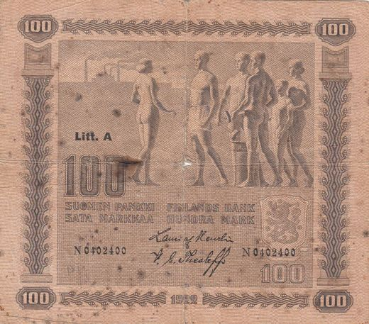 100 Markkaa 1922 Litt-A N0402400 ( 1? ) Heu-The