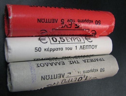 Greece 1 cent 2003, 2 cent 2002, 5 cent 2002 ( UNC ) original roll serie
