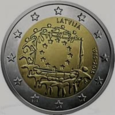 Latvia 2 euro 2015 European flag ( UNC )