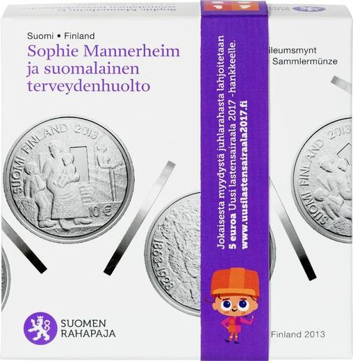 10 euro 2013 Sophie Mannerheim and Finnish Health Care ( PROOF ) Original box and cerficat