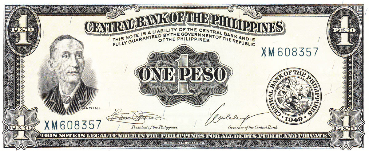 UNC Philippines ND P-133 1 Peso 1949