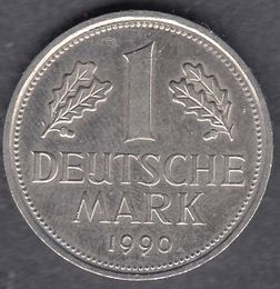 Germany 1 Mark 1990 D KM-110 ( XF )