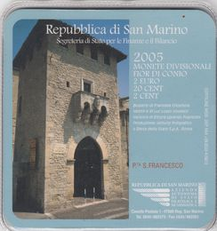 San Marino 2cent, 20 cent & 2 Euro 2005 In coincard