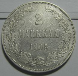 2 Markkaa 1905 ( VF ) slightly cleaned Rare