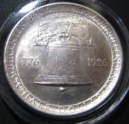 USA 1/2 Dollars 1926 Sesquicentennial of American Independence KM-160 ( AUnc ) Silver 12.5g / 900