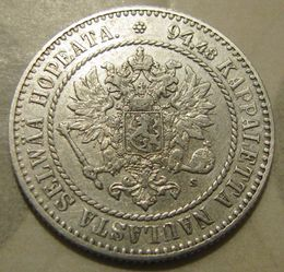 1 Markka 1864 II ( VF ) slightly cleaned
