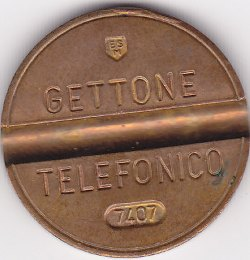Italy , Gettone telenofico, Number:7407 7,3gr 25mm