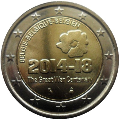 Belgium 2 euro 2014 The Grear War Centary ( UNC )