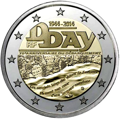 France 2 euro 2014  D Day / The Normandy landings 1944 - 2014 ( UNC )