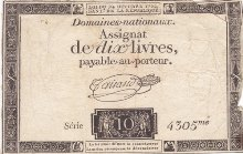 France 10 sous 24.10.1792 A-64b ( VF ) Serie 4305me Third issue