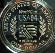 US 1 Dollar 1994S KM-247 ( PROOF )  FOOTBALL USA 94 WORLD CUP