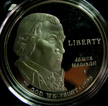 US 1 Dollar 1993S KM-241 ( PROOF ) JAMES MADISON AND BILL OF RIGHTS