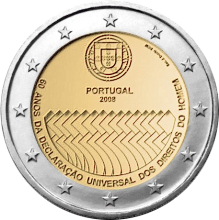 Portugal 2 euro 2008 ( UNC ) Human Righs Bag