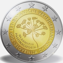 Slovenia 2 euro 2010cc 200th Anniversary of the Botanical Garden of Ljubljana( UNC )