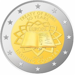 Luxembourg 2 euro 2007 50th Anniversary treaty of Rome ( UNC )