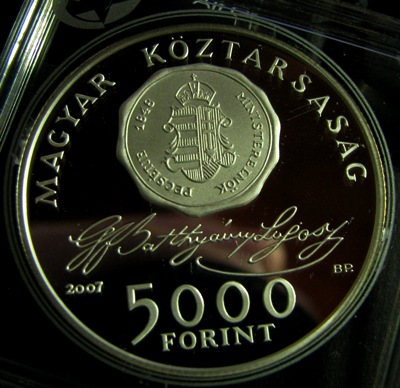 Hungary 5000 Forint 2007 Batthyany Lajos ( PROOF ) Ag 31.46gr 92,5%