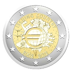 Netherlands 2 euro 2012cc  10 years Euro  ( UNC )