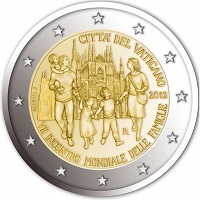 "Vatican city 2 euro 2012cc ( UNC ) ""World Meeting of Families ""   In Blister"