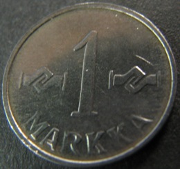 1 Markka 1953 FeNi KM#36a (  1+-01 ) Nickel Plated iron