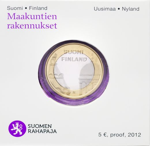Finland 5 Euro 2012 Provincial Buildings Uusimaa ( PROOF ) In box