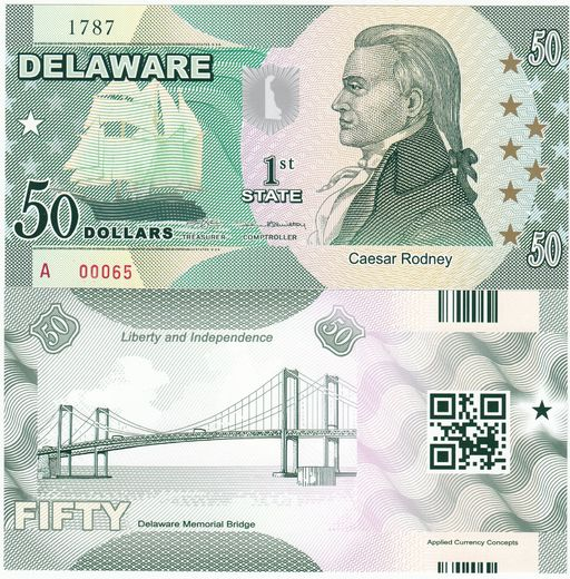 Delaware 50 state dollars ( UNC )