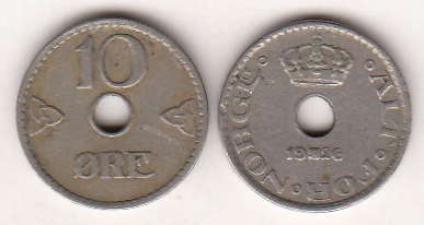 Norway 10 Øre 1926 KM-383 ( VF )