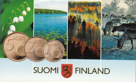 Finland Cent coins set 2007 ( UNC ) 1, 2, 5 cent