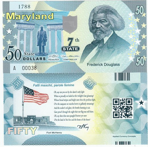 Maryland 50 state dollars ( UNC ) Frederick Douglass