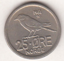 Norway 25 Øre 1961 KM-407 ( VF )