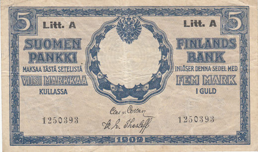 5 Markkaa 1909 Litt-A 1250393 ( VF ) with watermark COL - THE