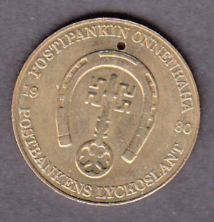 Postbank Finland Lyckycoin  ( XF ) Diameter 23mm