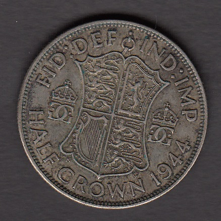 Great-Britain 1/2 grown 1944 KM-856 ( F ) Silver 14,13g 50%