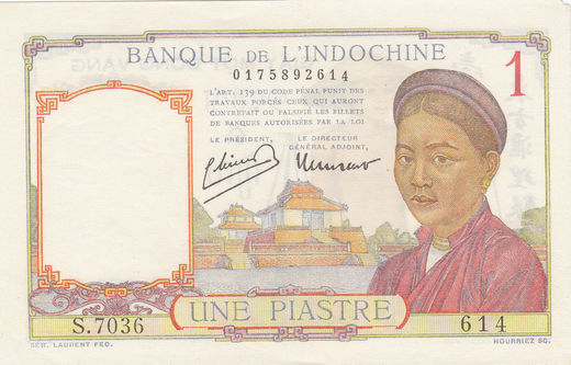 French Indo-China 1 piastre  P-54c ( VF )