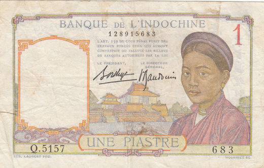 French Indo-China 1 piastre 1936 P-54b ( F )