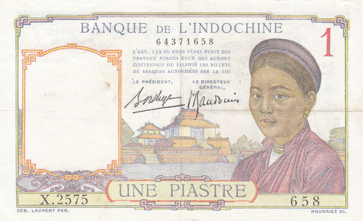 French Indo-China 1 piastre 1936 P-54b ( VF )