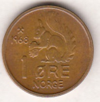 Norway 1 Øre 1968 KM-403 ( UNC )