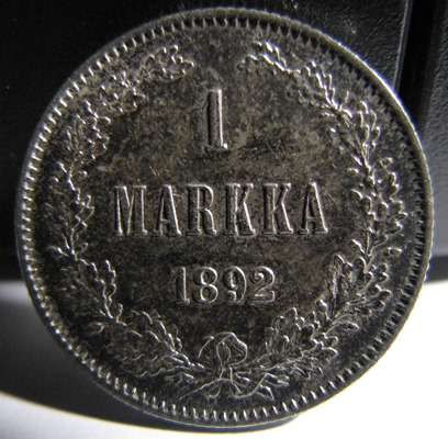 1 Markka 1892 ( XF ) Slightly cleaned