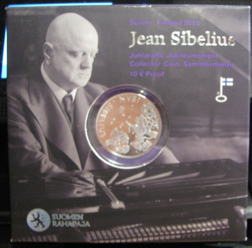 10 Euro 2015  Jean Sibelius  ( PROOF ) Original box