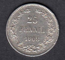 25 Penniä 1908 ( XF ) small edge defect