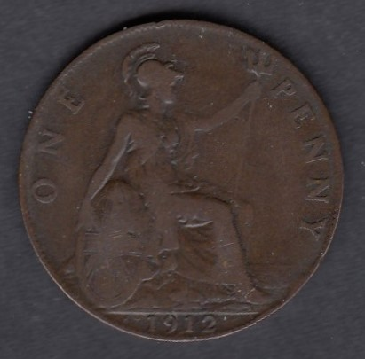 Great-Britain 1 penny 1912H KM-810 ( VF/F )