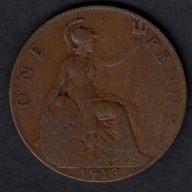 Great-Britain 1 penny 1913 KM-810 ( VF )