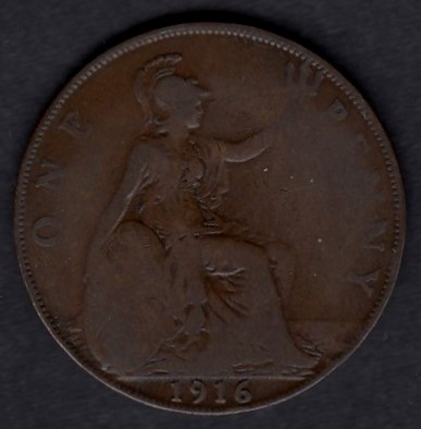 Great-Britain 1 penny 1916 KM-810 ( F )